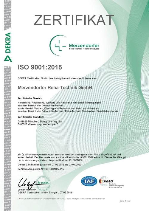 ISO 9001:2015 - Zertifikat